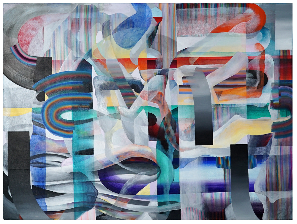 Folded Hooks   Acrylic on canvas  68 x 51 inches  2018