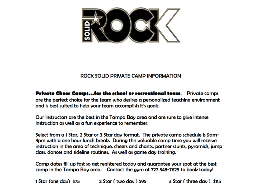 Private Camp Info