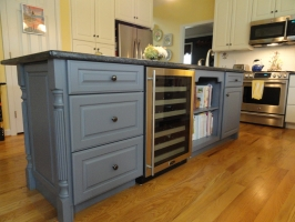 New Kitchen Island reusing the existing granite countertop - Omega Custom - Brookside Raised door style - Maple wood - Slate opaque finish with Blue Pearl granite