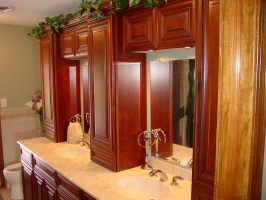 Omega Dynasty - Melbourne door style - Alder wood - Sable stain - Synmar synthetic marble vanity top
