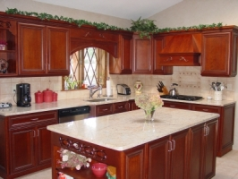 Omega Dynasty - Marco door style - Cherry wood - Sable stain - Coffee Glaze - Shivakashi Granite