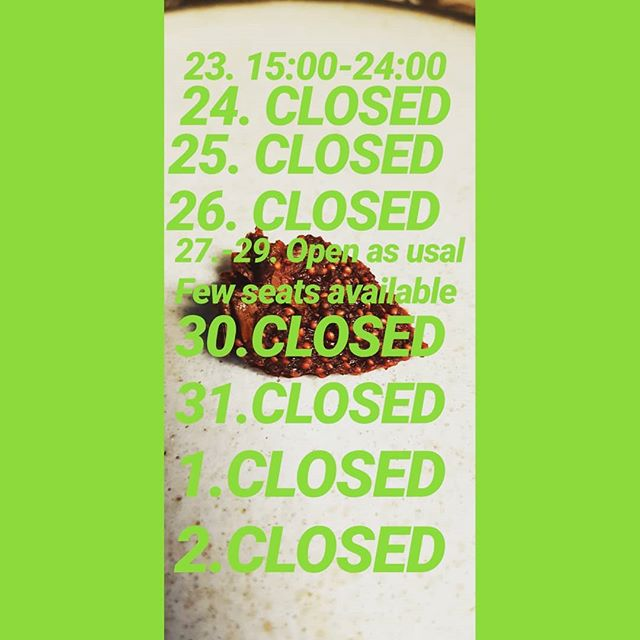 Opnunartiminn yfir hatiðirnar 😁 /// Opening hours over the holidays 😄  #matbarrvk #nicyspicy #sirfood #xmas #2018