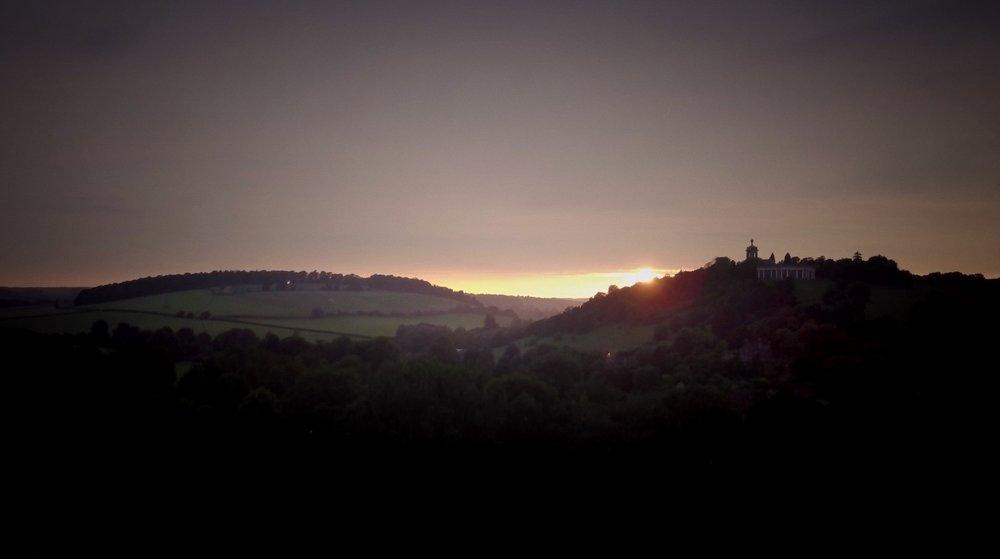 Wedding film final scene - sun set's over couple's wedding at West Wycombe Park