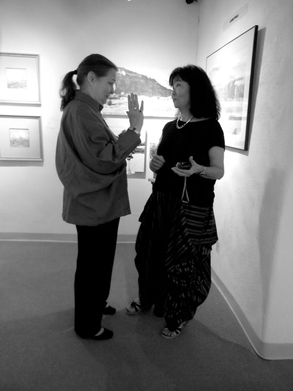 Artist's Carolyn Barlock and Teruko Wilde at an opening.