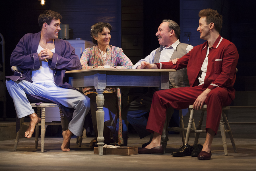 Death of a Salesman: L-R - Alex Hassell (Biff), Harriet Walter (Linda Loman), Antony Sher (Willy Loman) and Sam Marks (Happy), 2015 © RSC