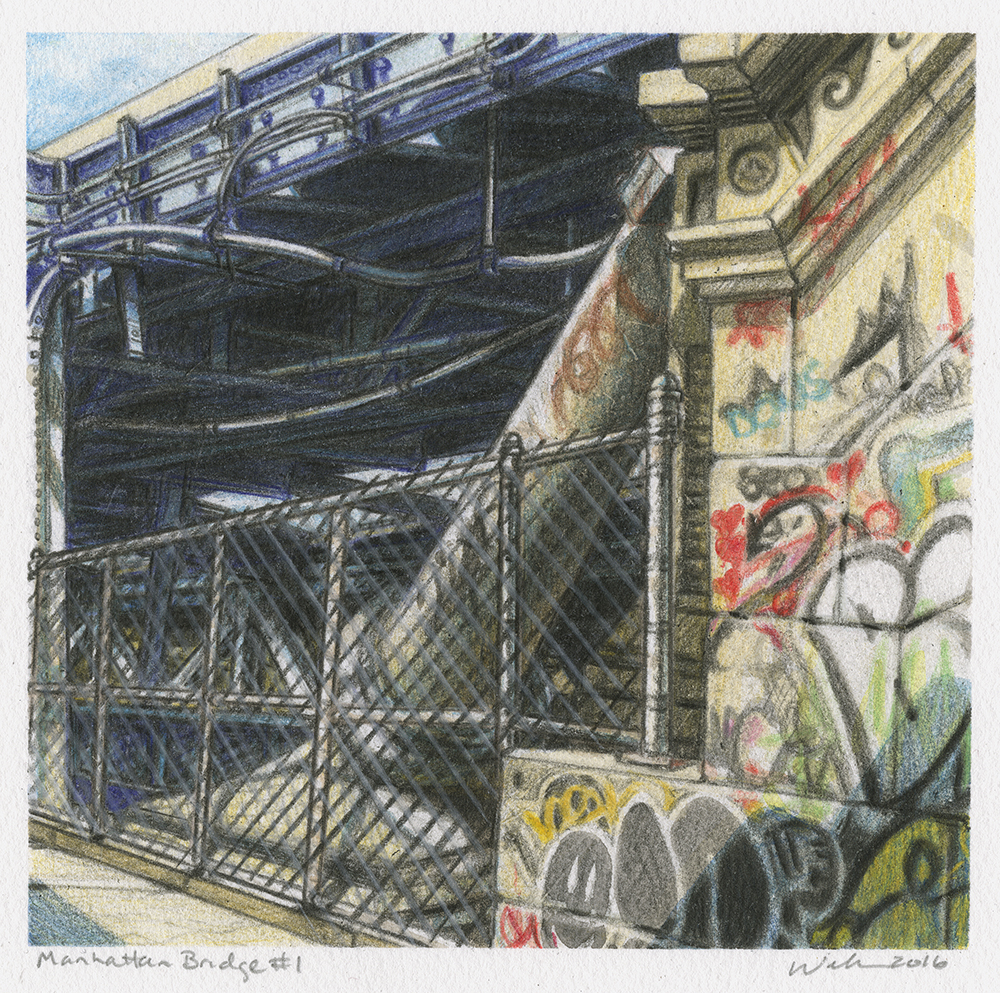 "Manhattan #1  |  Mixed Media on Paper  |  5"" X 5""  