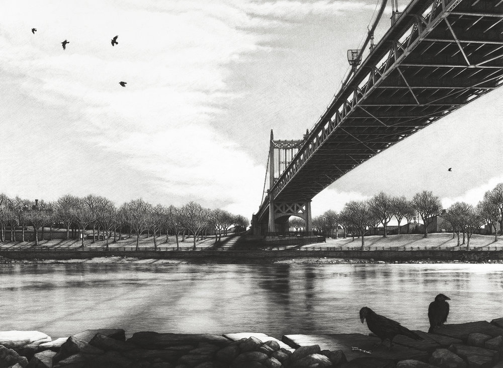 "Triborough  |  Charcoal on Paper  |  36"" X 48""  
