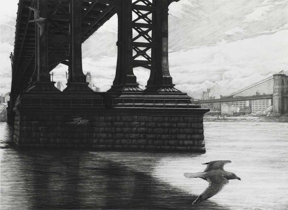 "Manhattan  |  Charcoal on Paper   |  36"" X 48""  
