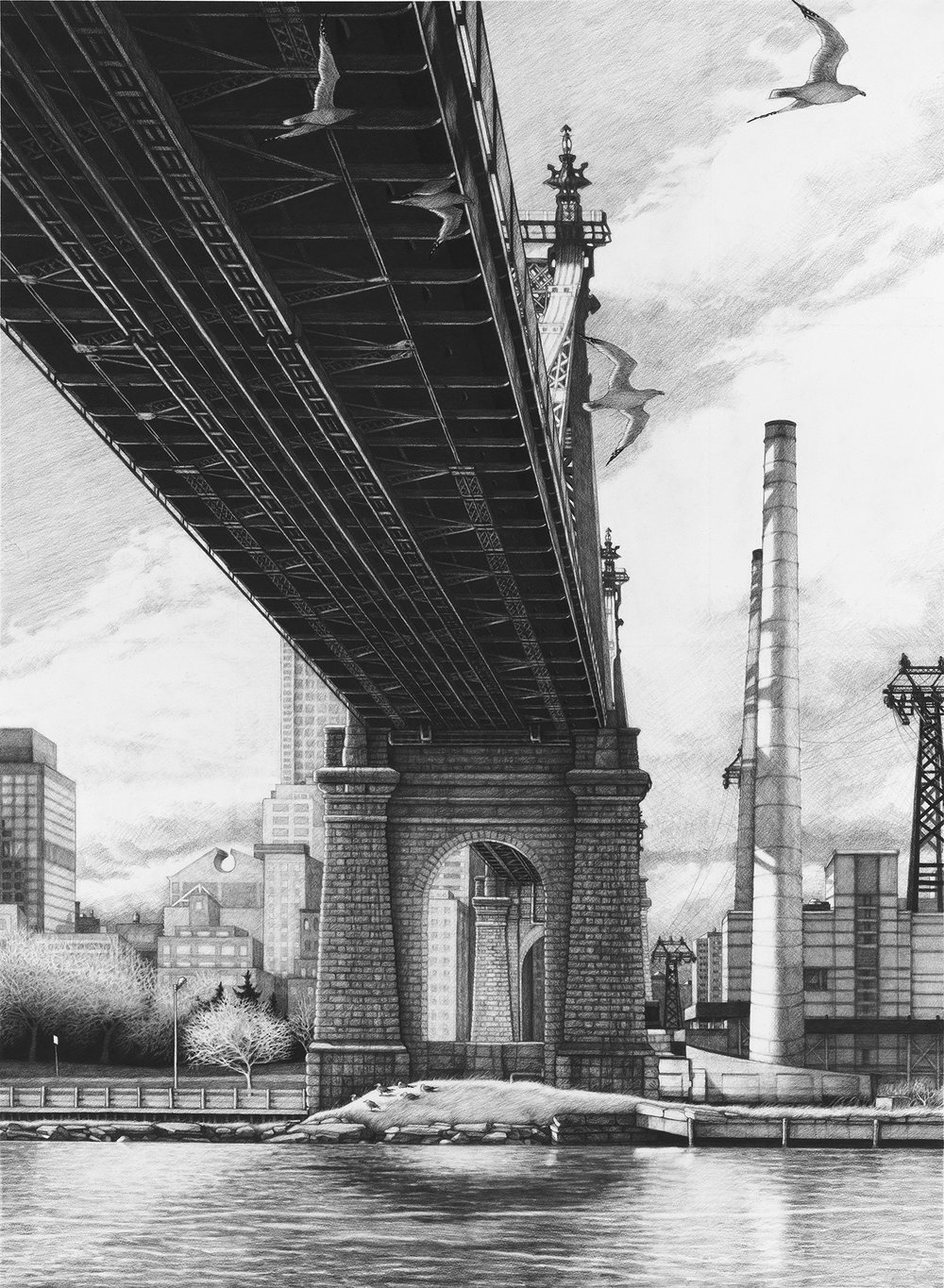 "Queensborough  |  Charcoal on Paper  |  36"" X 48""  