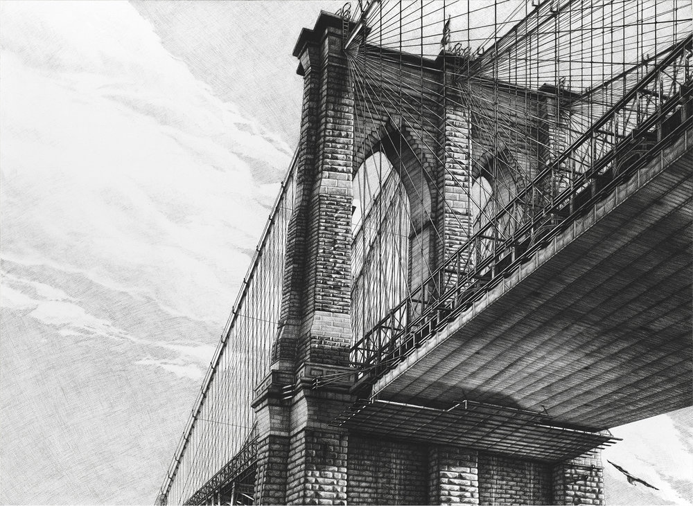 "Brooklyn  |  Charcoal on Paper  |  36"" X 48""  