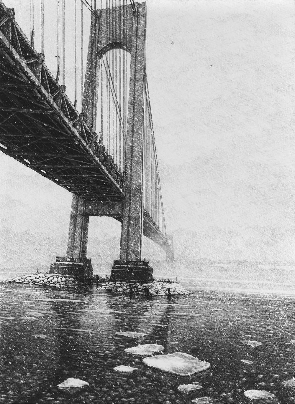 "Verrazano  |  Charcoal on Paper  |  36"" X 48""  