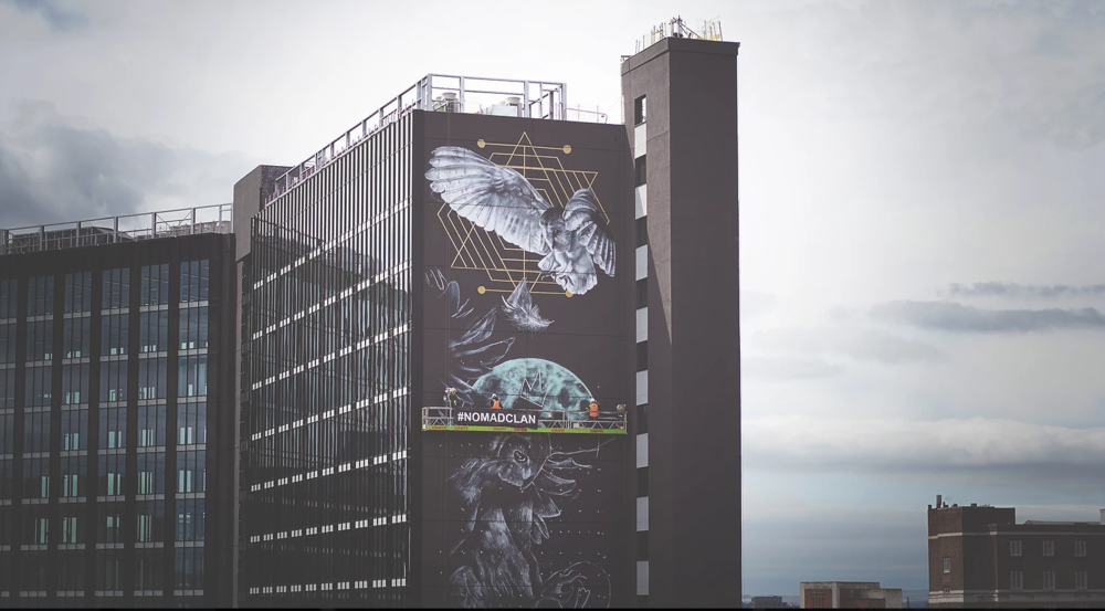 Athena Rising- The UK's tallest mural, Leeds train station