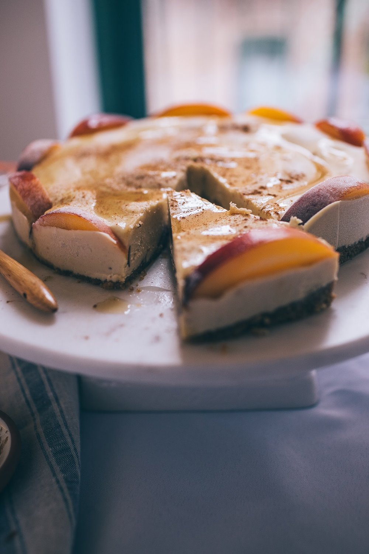 Cinnamon Peach Cashew Cheesecake (GF +V)
