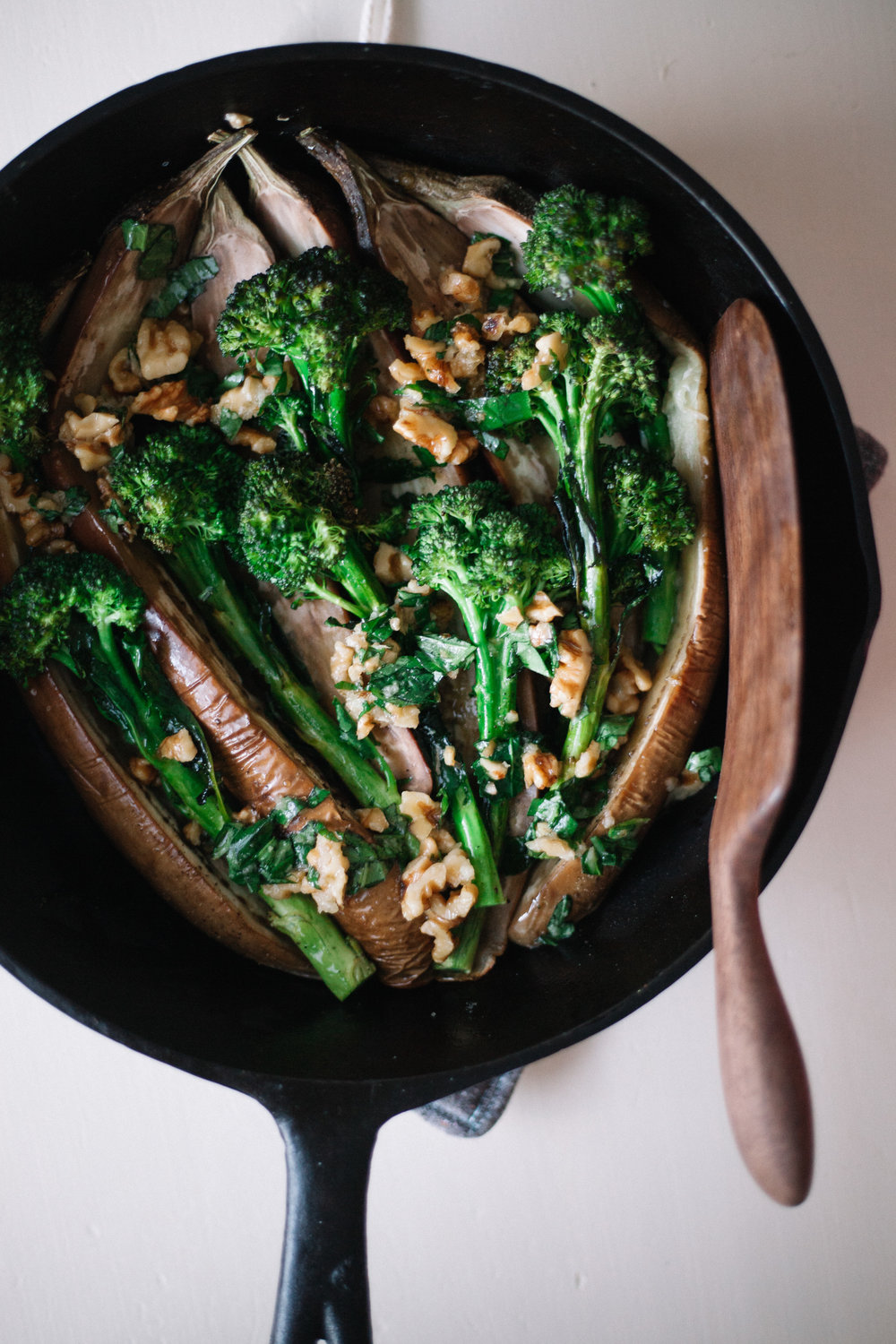 Roasted Eggplant + Broccolini | Marina Gunn
