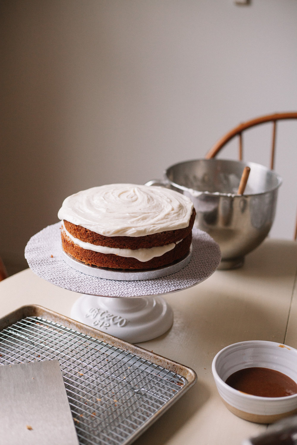 carrot cake with cream cheese frosting and date caramel (gluten free, dairy free) | marina gunn