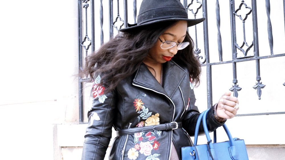 Belted Embroidered Leather Jacket