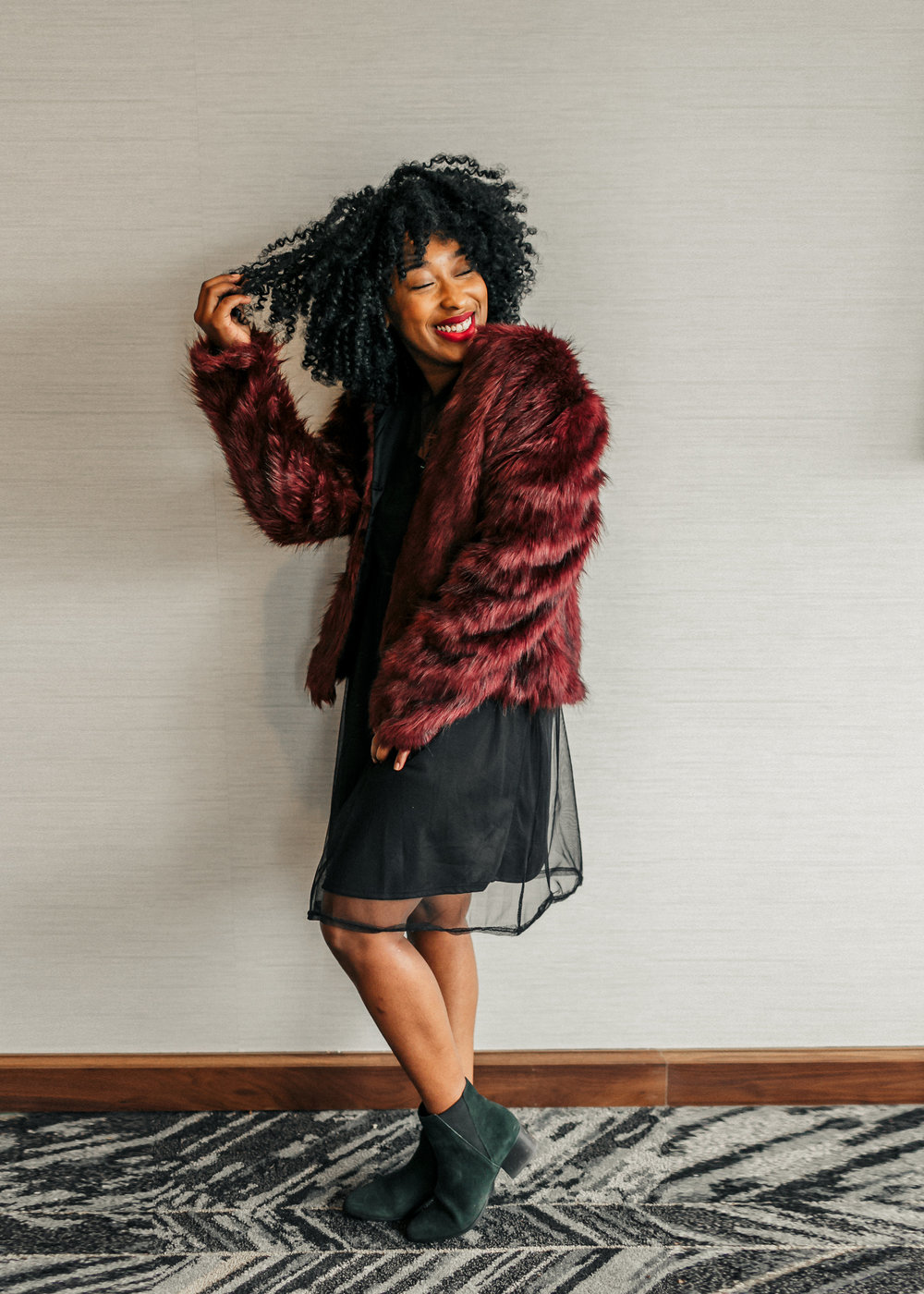 faux fur jacket, faux fur coat, mesh dress outfit, ankle boots, mesh dress