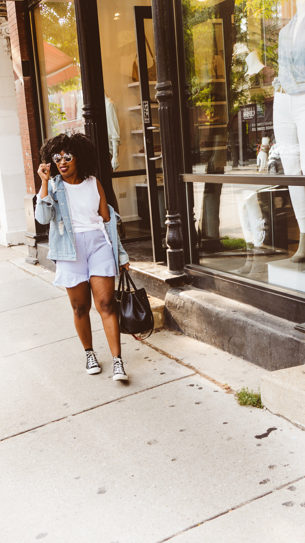 boohoo denim jacket, stripe shorts, white tank top, denim jacket outfit