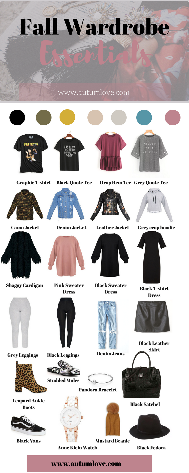 Fall Wardrobe Essentials, fall color palette, wardrobe color palette, fall capsule wardrobe, capsule wardrobe challenge, capsule wardrobe
