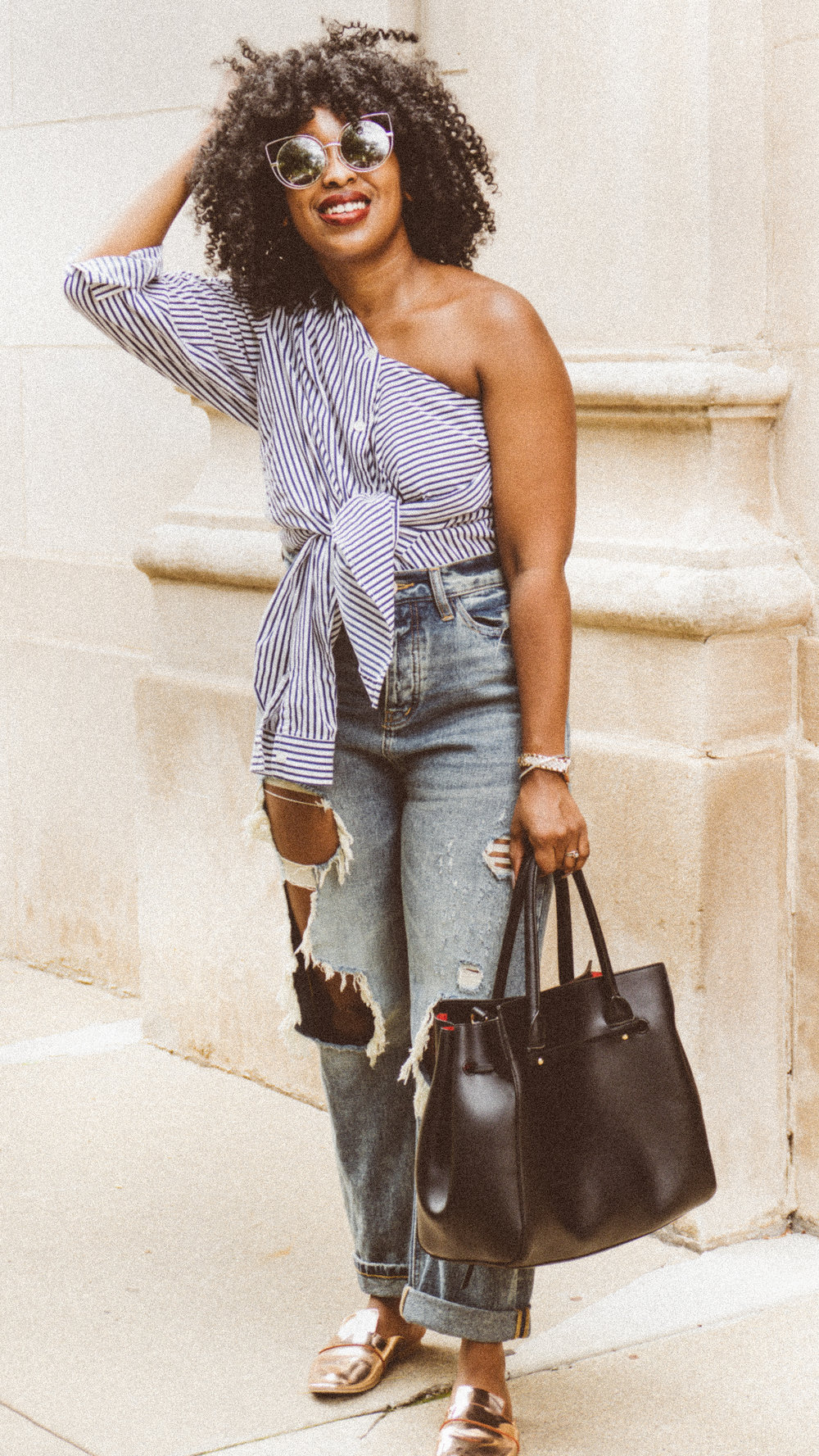 wrap top button up, button up outfit, mom jeans,