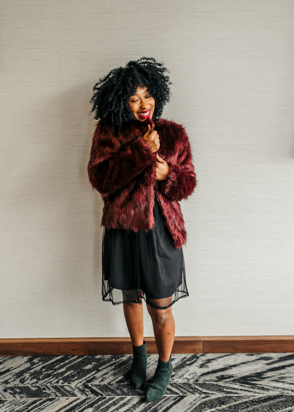 faux fur jacket, mesh dress, urban outfitters, tjmaxx