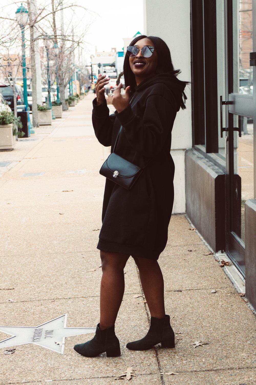 femmeluxefinery, hooded sweater dress, 2019 fashion trends, how to style a hooded sweater dress, how to style