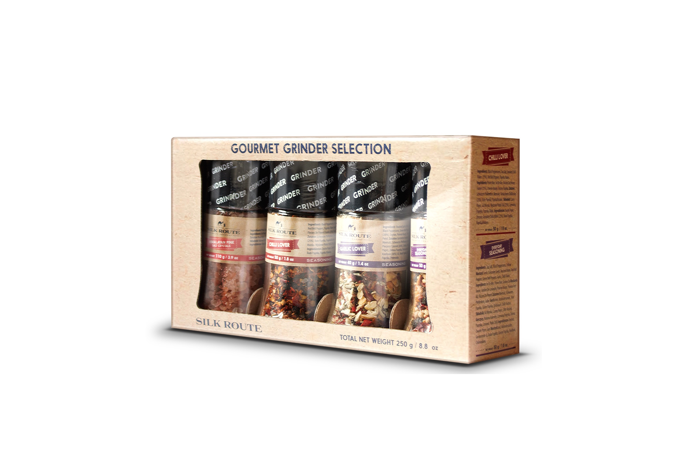Spice Grinder Gift Set x 4 (Himalayan Pink Salt, Chili Lover, Garlic & Herb, Everyday Seasoning)