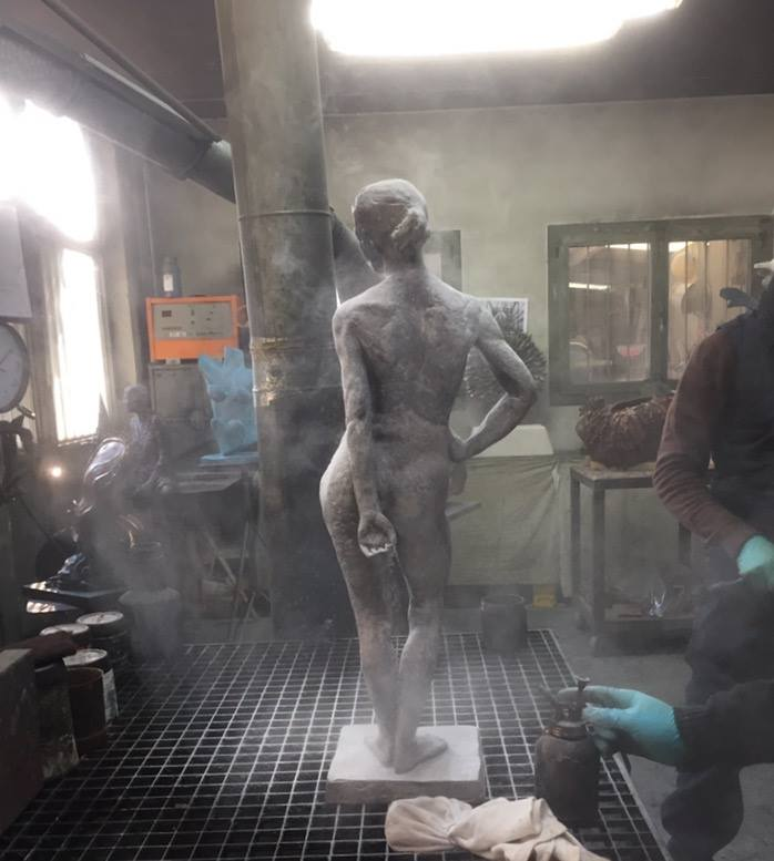 figurative bronze sculpture at the foundry