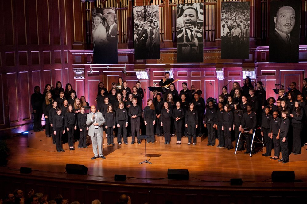 Maura Wayman Photography, Photography, Corporate Photography, Massachusetts, Boston, Metro West, events, Corporate events, Photographer, Functions, Parties, Fundraisers,  Boston Childrens Choir, Symphony hall, MLK, Martin Luther King Day, black man, choir, stage,