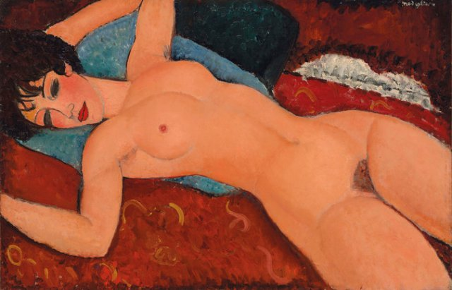Amedeo Modigliani, Nu couché (Reclining Nude) (1917-18)