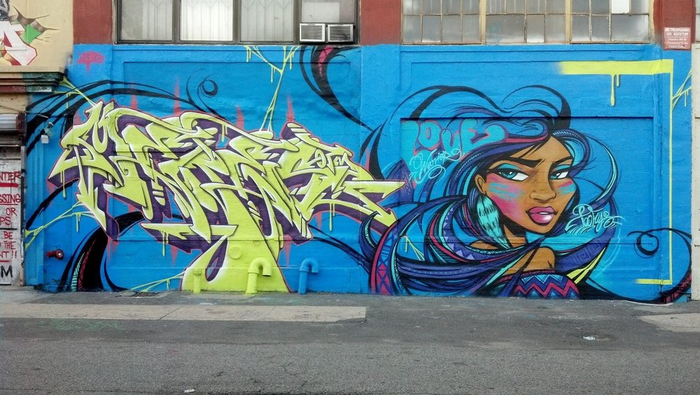 Meres One (Jonathan Cohen) & Toofly (Maria Castillo),  Love Warrior and Burner Collaboration , 2013. (5Pointz)