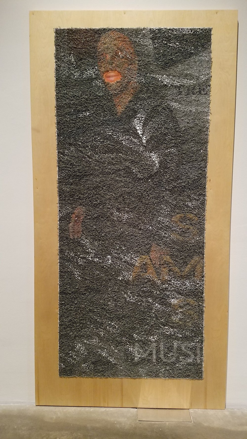 Wilmer Wilson IV (b. 1989, Richmond, VA),  Afr , 2017, Staples & Pigment on Wood,   Courtesy of the artist and CONNERSMITH, Washington D.C.