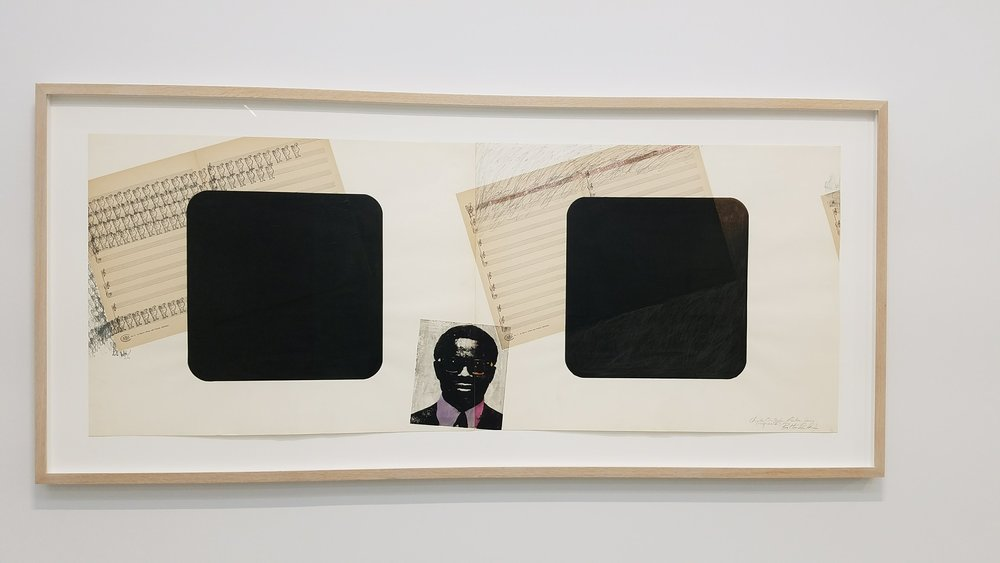 Barkley L. Hendricks,  Charles Christopher Parker Jr. Series (Confirmation) , Circa 1979, sheet music and collaged fortune-cookie fortunes, silkscreened image, painted and graphite square, ink stamp, Dyptich each sheet 22 x 27 7/8 in., Signed, Titled, & Dated Recto LR, Courtesy Jack Shainman Gallery