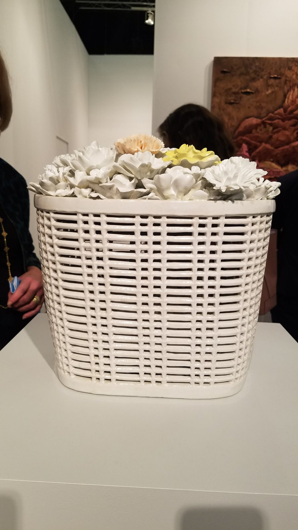 Ai Weiwei, Bicycle basket with flowers in Porcelain, 2015, Porcelain, courtesy of Lisson Gallery