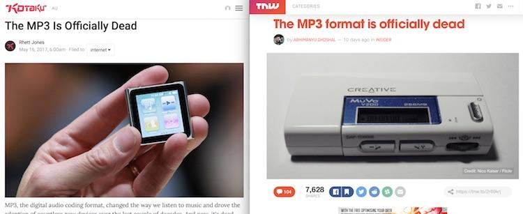 Чому б не оголосити MP3 мертвим? Отримаємо більше кліків!