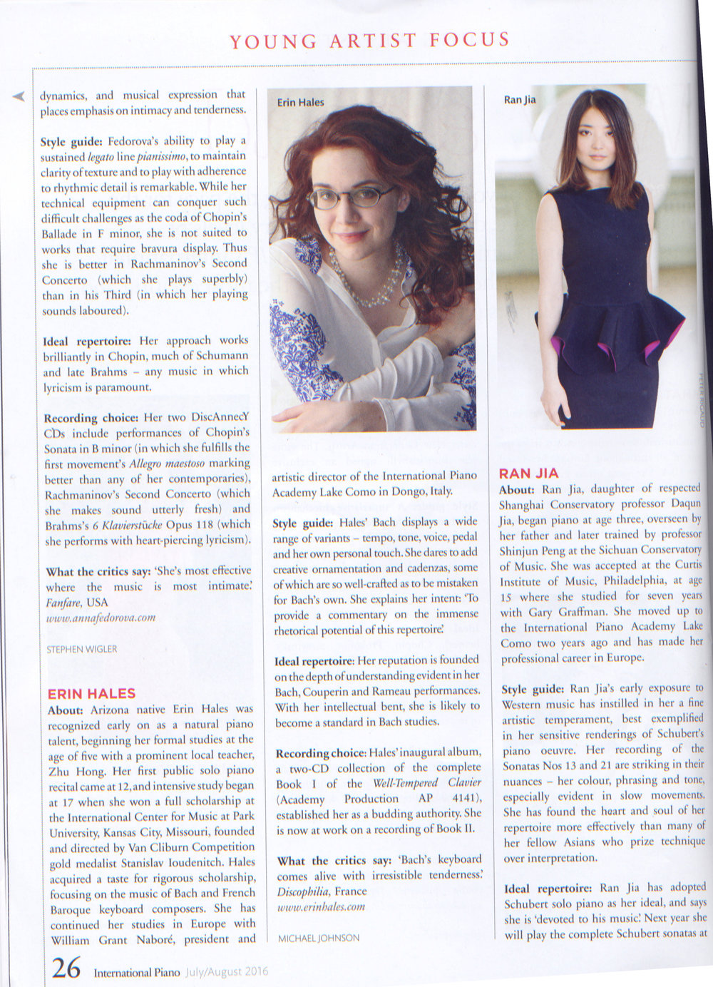 Erin Hales featured in the July/August 2016 issue of   International Piano .