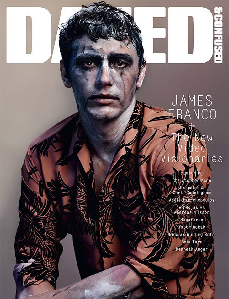"James Franco for dazed - He answers my questions lying on his side, one hand making shapes in the sands of Venice Beach. He wishes he had a coffee; he's tired. Rarely does he make direct eye contact, instead, his Ray Bans point towards the crashing waves of the Pacific. Perhaps he's dreaming of a macchiato. He's wearing a black t-shirt bearing the word ""Fassbinder"" in Spinal Tap lettering, an homage to the German director, Rainer Werner Fassbinder. Merging the experimental with the ironic, the high brow with the playful, it really is the perfect shirt for James Franco to be wearing right now--or, as Spinal Tap's Nigel Tufnel would say, ""This is my exact inner structure, done in a tee shirt."" Cover interview for DAZED mag, here"