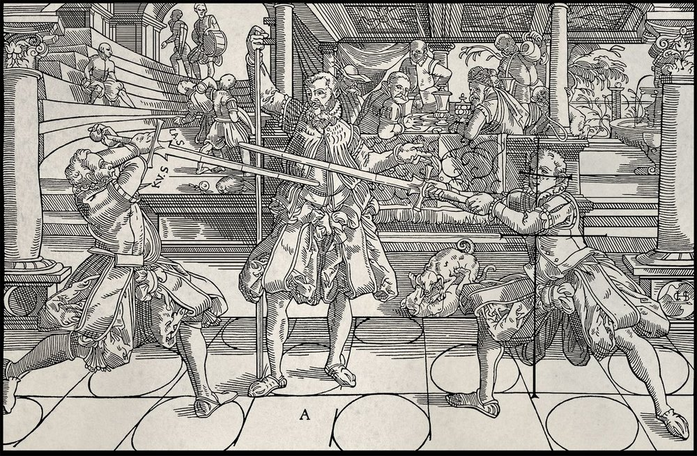 "The first illustration from Joachim Meyers Gründtliche Beschreibung der Kunst des Fechtens (""A Thorough Description of the Art of Fencing""), our primary source."