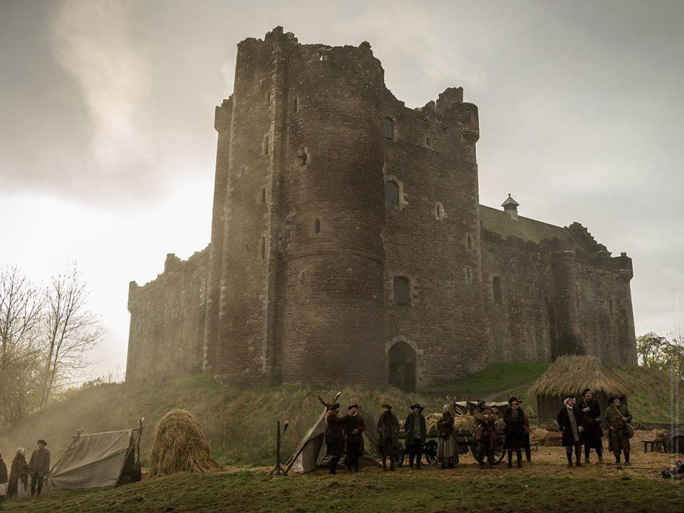 Doune Castle with Outlander set