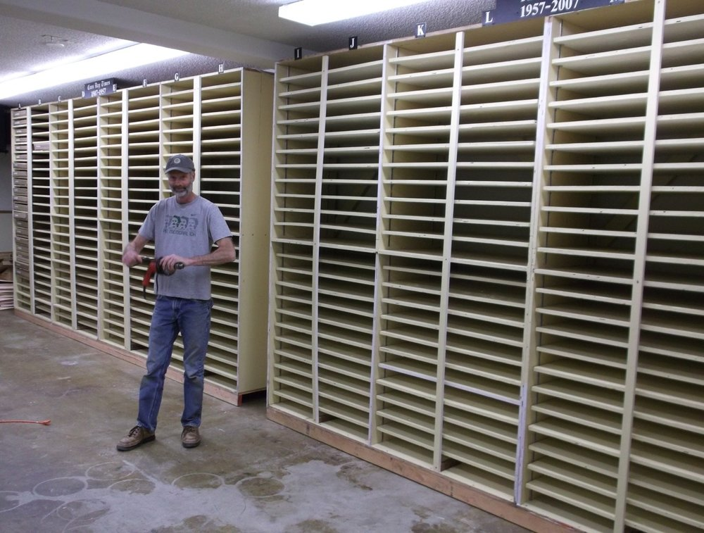 Tom at the Newspaper Repository at the Harding Building. We now have storage for 30,000 of our newspapers!