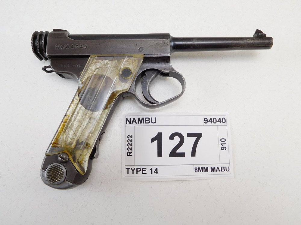 - COMES WITH MAGAZINE, CLEAR PLASTIC GRIPS WITH A PHOTO OF AN OLDER WOMEN ON THE LEFT SIDE, POSSIBLY THE SOLDIERS MOTHER AND ON THE RIGHT SIDE A YOUNGER WOMEN POSSIBLY A WIFE OR SISTER, GUN RETAINS APPROX 50% OF ITS ORIGINAL BLUEING, JAPANESE STATE ARSENAL, BORE IS BRIGHT WITH MINOR PITTING, MINOR PITTING ON OUTSIDE OF THE BARREL , SERIAL # 94040 , STOCK # R2222 , BARREL LENGTH: 120MM , CONDITION: 7/10 ACTION:SEMI AUTOMATIC HANDGUN , CLASS: CANADIAN RESTRICTED CLASS... (READ MORE)