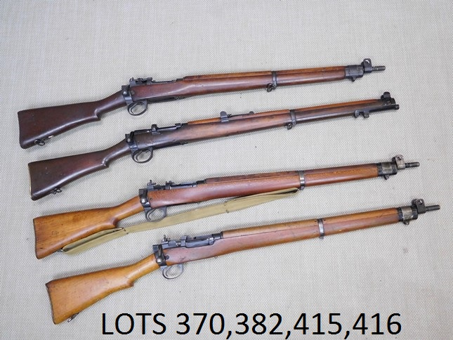 - THIS IS A GROUP PHOTO OF 4 LOTS OF LEE ENFIELD RIFLES THAT WE HAVE FOR AUCTION OCT 21ST.  SEE LOT 370LOT 382LOT 415LOT 416