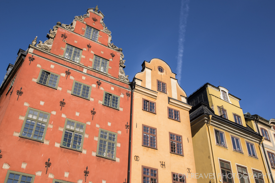 Colorful buildings in Stortorget, Stockholm's historic Old Town square.