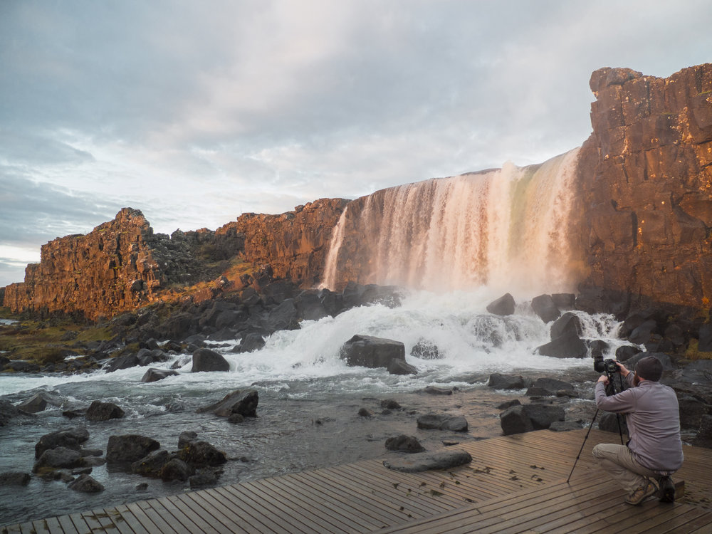 Me photographing Oxararfoss in Iceland with the Sirui T-025X Carbon Fiber tripod and C-10 Ball Head. (2016)