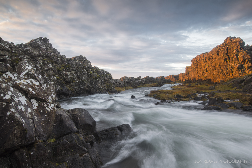 Sunrise in Thingvellir National Park, Iceland. Image made using the Sirui T-025x Tripod with C-10 ball-head.