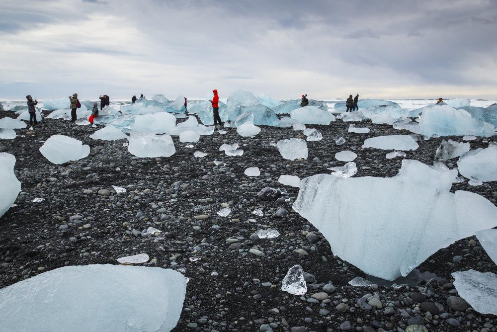 Tourists at Jökulsárlón Beach, Iceland