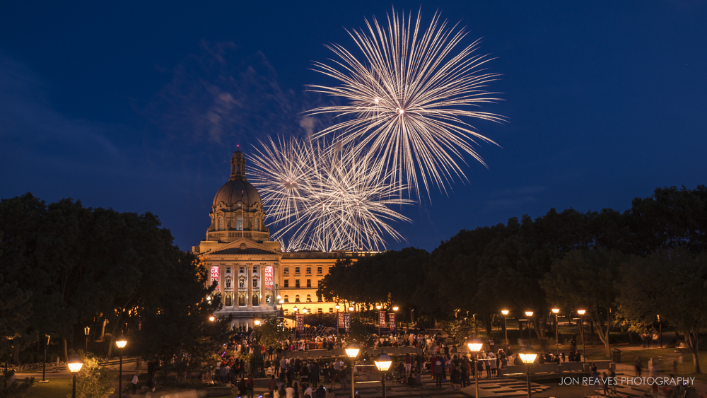 Canada Day Fireworks over the Alberta Legislative Grounds, Edmonton, AB. (Nikon D600, 18-35G, Tripod - 35mm, ISO 200, f11, 2.5 sec)