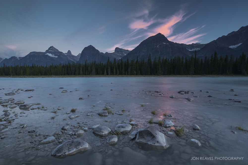 Sunset over Athabasca River, Jasper National Park