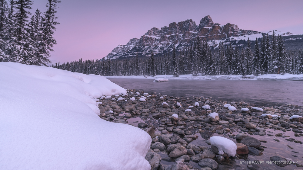 Sunrise over the Bow River and Castle Mountain, Banff National Park