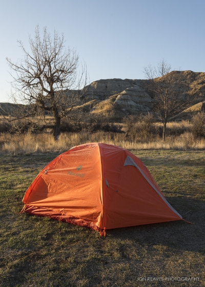 My campsite in Dinosaur Provincial Park. I had the whole Provincial Park all to myself for two days in late April. Though daytime temps can be very warm in spring, I found out the hard way that nighttime lows can still be below freezing.
